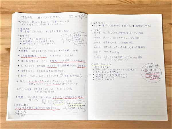 集めた情報をノートにまとめる