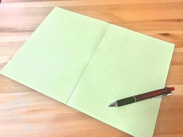 中村印刷所 目に優しいノート【B5判 5mm方眼 紙色 グリーン】30枚 水平開き(ナカプリバイン) 開