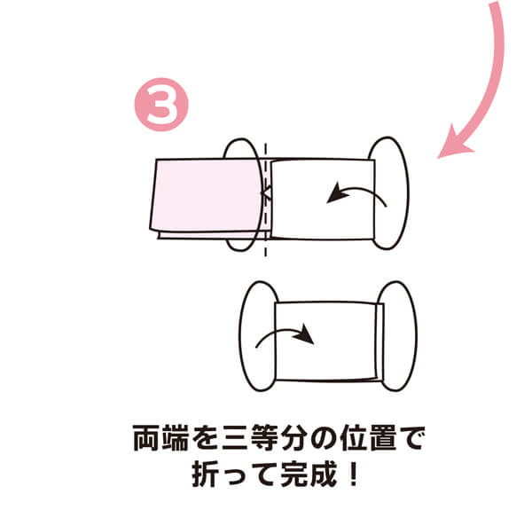 手作りマスク 手順3:両端を3等分の位置で折って完成!